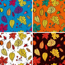 Seamless pattern with colorful autumn leaves Element for design.