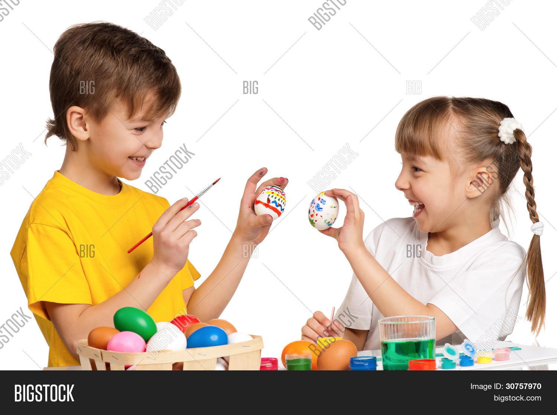 Imagen y foto Dos Niños Pintando (prueba gratis) | Bigstock