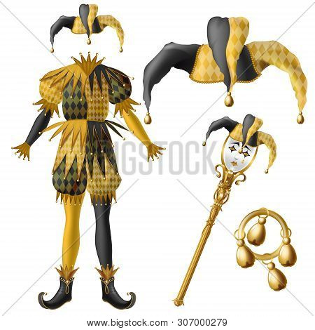 Medieval Jester Costume Elements, Checkered, Black And Yellow Colors Hat With Bells, Golden Scepter