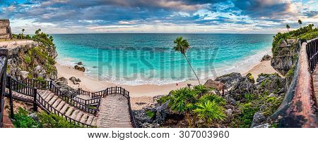 Archaeological Site Tulum In Yucatan Peninsula By The Caribbean Sea In Mexico
