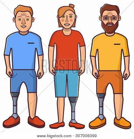 Artificial Leg.young Person,girl An Limb.sport Prostheses.cartoon Character Flat Line Art Vector.iso