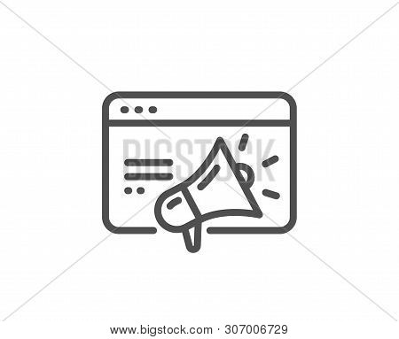 Seo Marketing Line Icon. Web Targeting Sign. Traffic Management Symbol. Quality Design Element. Line