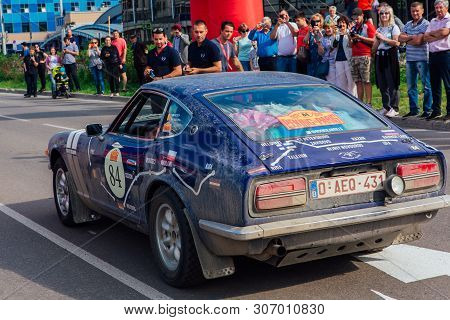 Novokuznetsk, Russia-june 14, 2019: The 7th Peking To Paris Motor Challenge 2019. Datsun 240z 1971le