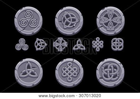 Celtic Symbols. Cartoon Set Celtic Icons On Stone Coin