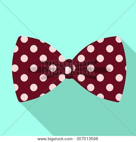 Polka Bow Tie Icon. Flat Illustration Of Polka Bow Tie Vector Icon For Web Design