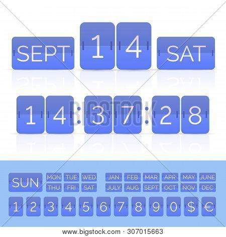 Blue Flat Flip Calendar And Countdown Timer