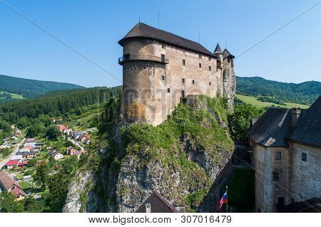 Orava Castle - Oravsky Hrad In Oravsky Podzamok In Slovakia. Medieval Fortress On Extremely High And