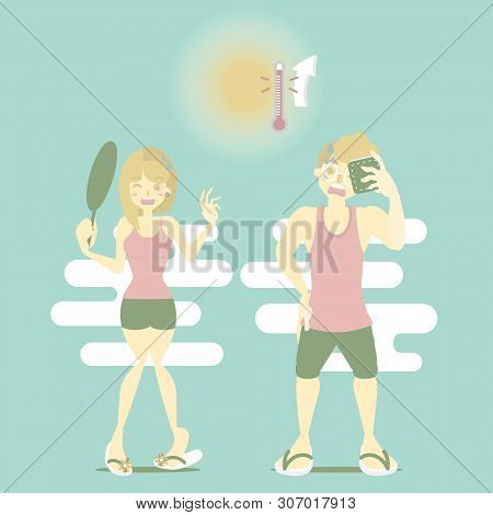 Summer Time Holiday Vacation Season With Man And Woman Sweating In Hot Temperature And Sun, Perspira