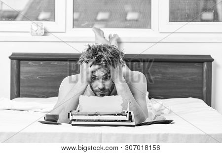 Crisis Creativity. Daily Routine Of Writer. Man Writer Lay Bed With Breakfast Working. Writer Handso