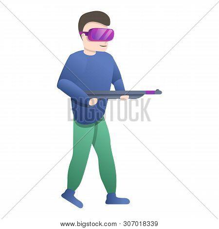 Virtual Reality Shooter Icon. Cartoon Of Virtual Reality Shooter Vector Icon For Web Design Isolated
