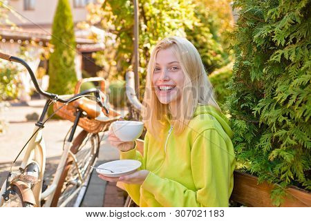 Active Girl With Bicycle. Motion And Energy. Woman With Bicycle In Blooming Garden. Weekend Activity