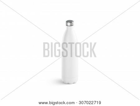 Blank White Thermo Sport Bottle Mock Up, 3d Rendering. Empty Traveler Metal Botle With Clip Mockup I