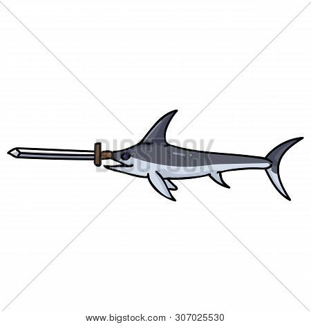 Cute Swordfish With Real Sword Cartoon Vector Illustration Motif Set. Hand Drawn Isolated Sea Life E