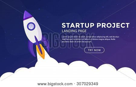 Rocket Ship In A Flat Style. Space Rocket Launch.project Start Up And Development Process. Business
