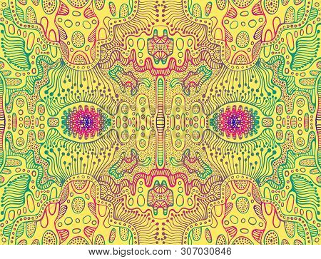 Psychedelic Trippy Colorful Abstract Texture, Gradient Emerald Purple Pink Blue Color Outline, On Ye