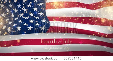 Vector Illustration With Waving American Flag And Gold Fireworks For Independence Day Celebration. F