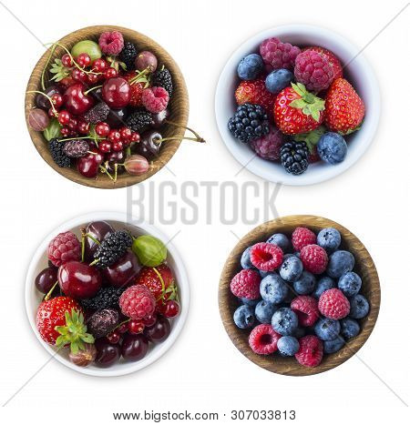 Top View. Fruits And Berries In Bowl Isolated On White Background. Ripe Raspberries, Blueberries, Ch