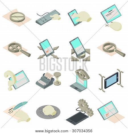 Compose Icons Set. Isometric Set Of 16 Compose Vector Icons For Web Isolated On White Background