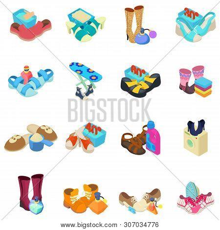 Shoeshine icons set. Isometric set of 16 shoeshine vector icons for web isolated on white background poster