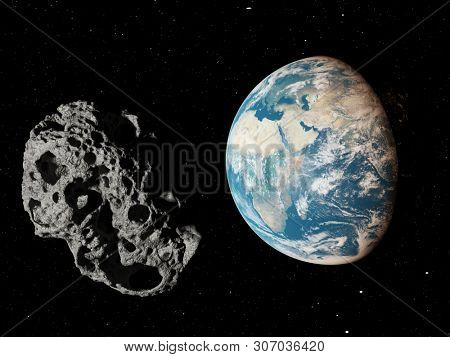 3d rendered illustration of an asteroid infront of the earth