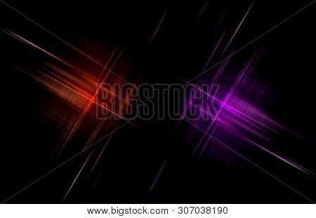 Red And Purple Checkered Pattern On Black. Abstract Background.