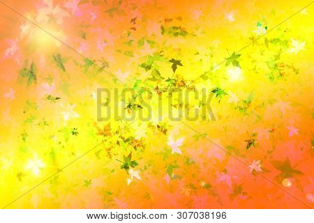 Autumn Leafs And Sun Flare Collage As Abstract Defocused Wallpaper. Comic Background.