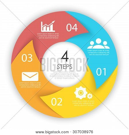 Сircle Arrows For Infographic. Business Concept With 4 Options, Steps Or Processes. Vector Pie Chart
