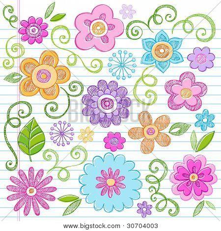 Flowers Colorful Sketchy Doodles Hand-Drawn Back to School Notebook Vector Illustration Design Elements on Lined Sketchbook Paper Background poster