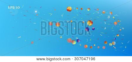 Breezy Space And Signs Confetti. Signs Colorific Illustration. Background Graphic. Light Ultra Wide