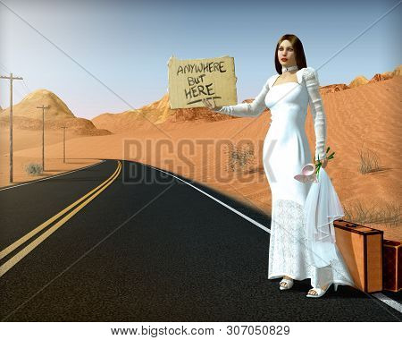 Abandoned, Runaway Bride Standing On Side Of Road Holding A Sign, Hitchhiking, Wearing A White Weddi