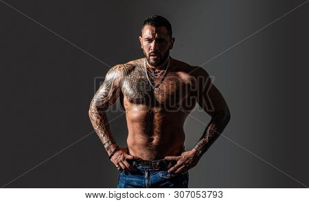 Brutal Sportsman Torso. Steroids. Sexy Abs Of Tattoo Man. Male Fashion. Sport And Fitness, Health. C