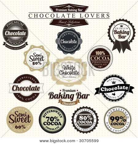 Premium Retro Chocolate Vintage Label Set