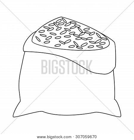 Vector Design Of Bag And Rice Icon. Set Of Bag And Wholesale Vector Icon For Stock.