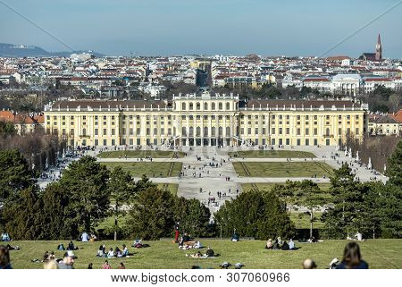 Viena, Austria - March 18, 2019: A Schonbrunn Palace Landscape, Wide View From The Hill