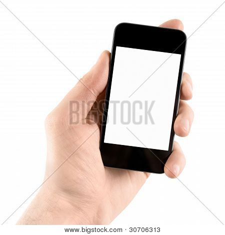 Holding Apple Iphone In Hand Isolated