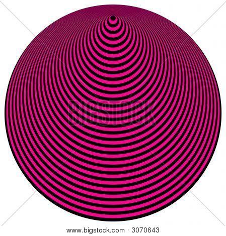 Op Art Concentric Circles Magenta Over Black