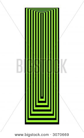 Op Art Concentric Rectangles Green Over Black
