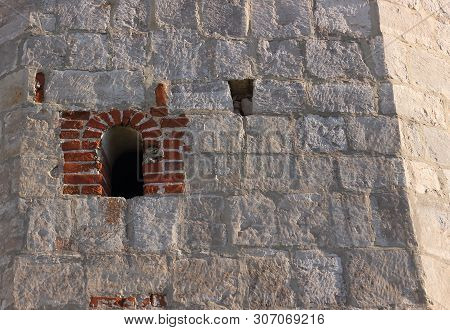 Medieval Wall From White Limestone With Small Embrasure Arsenal Corner Tower Of The Zaraysk Kremlin