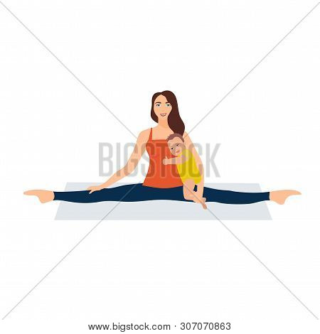 Vector Illustration On White Background. Asanas With Twine In Yoga. Beautiful Young Woman Doing Stre
