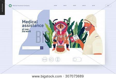 Medical Insurance - Medical Assistance All Over The World - Modern Flat Vector Concept Digital Illus