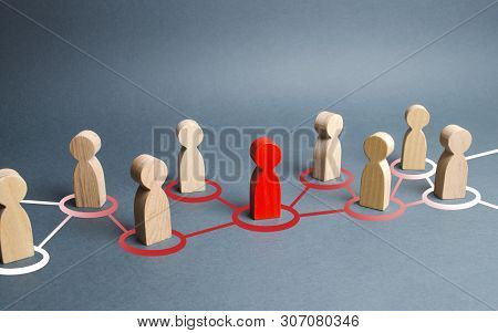 The Red Human Figure Extends Its Influence To The Neighboring Figures. Spreading Ideas And Thoughts,