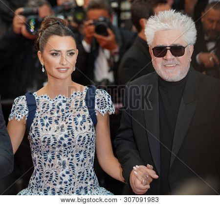 CANNES, FRANCE. May 17, 2019: Pedro Almodovar, Penelope Cruz,  at the gala premiere for