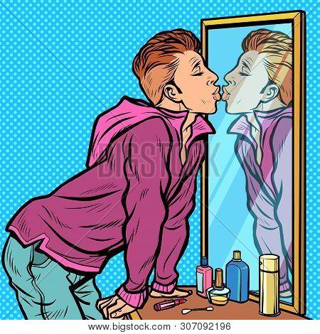 A Man Kisses His Own Reflection, Narcissism Ego Selfishness. Pop Art Retro Vector Illustrator Vintag