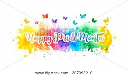 Lgbt Happy Pride Month Banner With Colorful Rainbow Watercolor Splash And Butterflies. Vector Illust