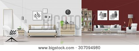 Modern House Interior Background With Bedroom And Living Room Combination , Vector , Illustration