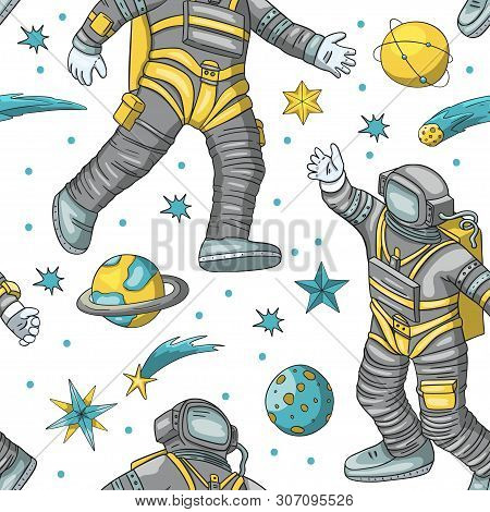 Astronaut Vector Seamless Pattern. Cosmos Cartoon Illustrations. Spaceman Flying In The Other Space.
