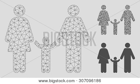Mesh Family Child Model With Triangle Mosaic Icon. Wire Carcass Polygonal Mesh Of Family Child. Vect