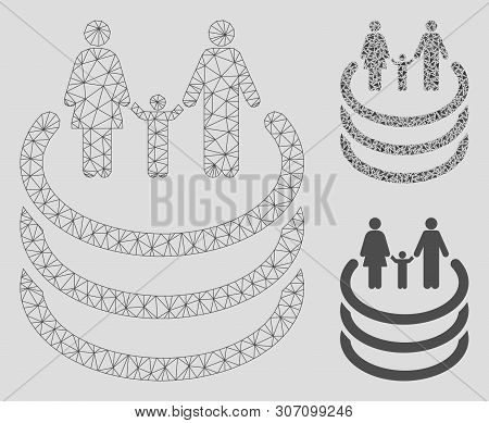 Mesh Family Portal Model With Triangle Mosaic Icon. Wire Frame Triangular Mesh Of Family Portal. Vec
