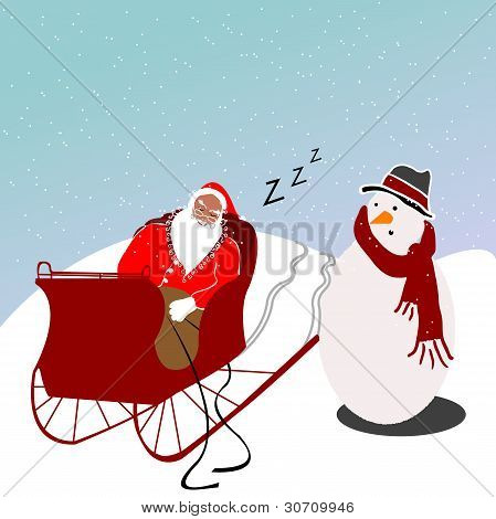Sleeping Santa Illustration