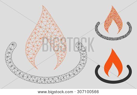 Mesh Fire Place Model With Triangle Mosaic Icon. Wire Carcass Polygonal Network Of Fire Place. Vecto
